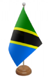 Tanzania Desk / Table Flag with wooden stand and base